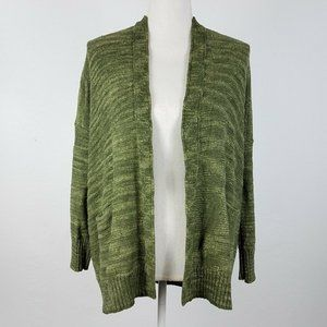Anthropologie Cardigan Open Front Pockets Green M